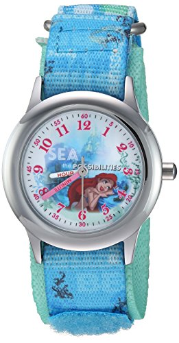 Disney Girl's 'Princess Ariel' Quartz Stainless Steel and Nylon Casual Watch, Color:Blue (Model: WDS000202)
