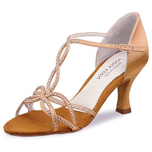 Anna Kern - Mujeres Zapatos de Baile 919-60 - Satén Tan - 6 cm Tan