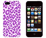 retro 5s grape - Purple Leopard Embossed Slim Fit Hard Case for Apple iPhone 5S / 5 (AT&T, Verizon, Sprint, International) - Includes DandyCase Keychain Screen Cleaner [Retail Packaging by DandyCase]