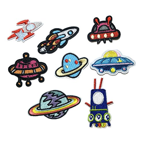 8 PCS Rocket UFO Flying Saucer Space Planets Astronaut Stars NASA Patch for Jackets Backpacks Caps Embroidered Sew/Iron-on Badge Patches Appliques Application