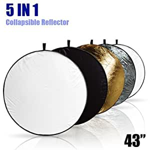 """LimoStudio 43"""" Photography Photo Video Studio Lighting Disc Reflector, 5-in-1, 5 Colors, Black, White, Gold, Silver, Translucent, AGG808"""
