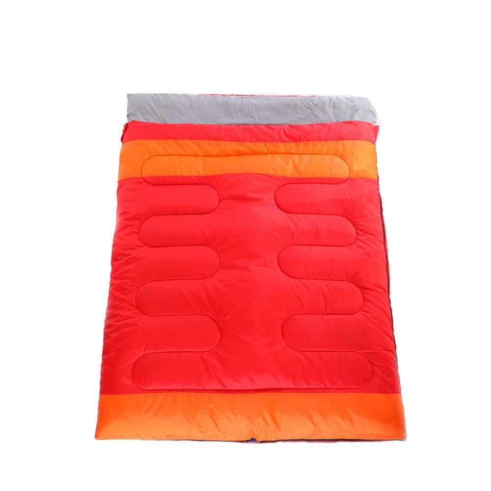 LIUSIYU二重寝袋、二重封筒の寝袋、柔らかく、幅広く、防水で、大人と子供のアウトドアキャンプ旅行に最適 B07MC7TL88 Red  Red