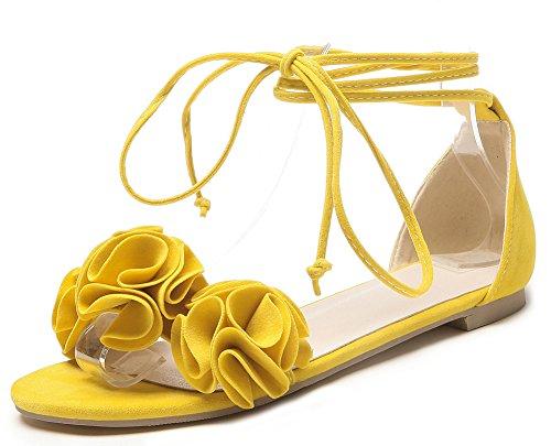 Aisun Women's Comfy Flowers Self Tie Sandals Yellow