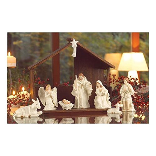 Belleek Christmas Nativity Scene Porcelain Irish Figurine and Stable Set of 7 by The Irish Store - Irish Gifts from Ireland