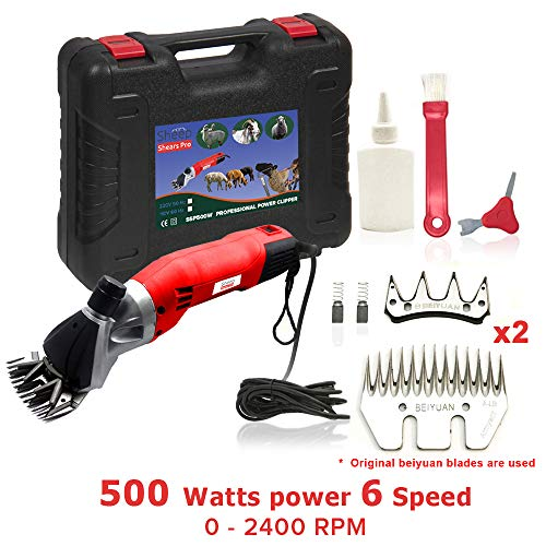 Sheep Shears Pro 110V 500W Professional Heavy Duty Electric Shearing Clippers with 6 Speed, for Shaving Fur Wool in Sheep, Goats, Cattle, and Other Farm Livestock Pet, with Grooming Carrying Case CE ()