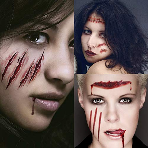 Halloween Cosplay Makeup Wound Scar - Horror Realistic Fake Bloody Stitch Scab Waterproof Temporary Sticker Joke Scratch Blood Tattoos Tattoo Wound Zombie Scars Masquerade Prank Cosmetic Props, 10pcs