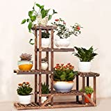 Wooden Flower Stands,UNHO Plant Stand Six-Tiered Planter Display Indoor Outdoor Rack for Yard Decor Sturdy Construction