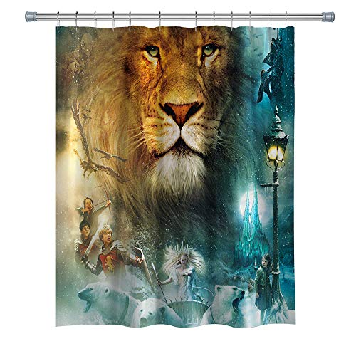 GOODCARE The Chronicles of Narnia: The Lion, The Witch and The Wardrobe Washable Waterproof Polyester Bathroom Accessories with 12 Free Hooks, 71x71Inch,Biue Gold ()