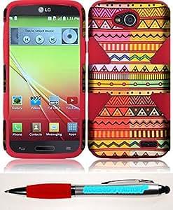 Accessory Factory(TM) Bundle (the item, 2in1 Stylus Point Pen) For LG L90 Dynamic Slim Hybrid Cover Case - Geometric Aztec+Red cas protecteur de couverture