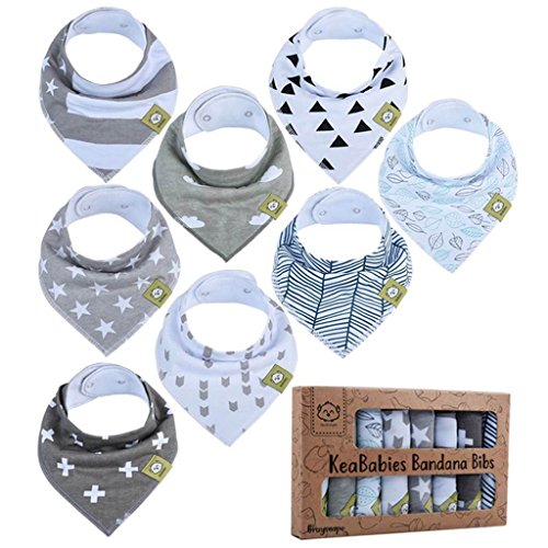 Baby Bandana Drool Bibs - Bandana Bibs for Boys, Girls by KeaBabies- Super Absorbent Bandana Drool Bibs - Teething Bibs - Organic Cotton Baby Bibs for Infant, Toddler - 8 Pack Bibs Set (Grayscape) ()