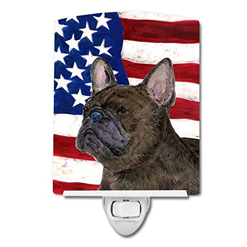 Caroline's Treasures USA American Flag with French Bulldog Night Light, 6'' x 4'', Multicolor