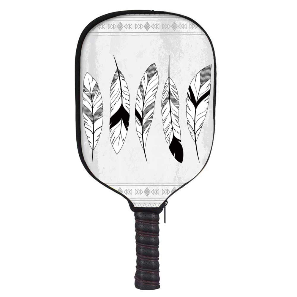 Feather Fashion Racket Cover,Stylized Doodle Borders with Triangle Motifs Artistic Bohemian Western for Playground,8.3'' W x 11.6'' H
