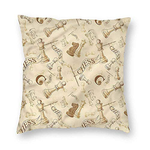 Mannwarehouse Beige Personalized Pillowcase Retro Chess Game Pieces Machine washableW16 x L16