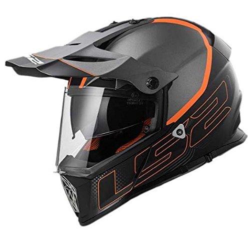 LS2 PIONEER MX436 ELEMENT Helmet 2017モデル ヘルメット マットブラック/グレイ/オレンジ L(59~60cm) B06XKJ3NNL