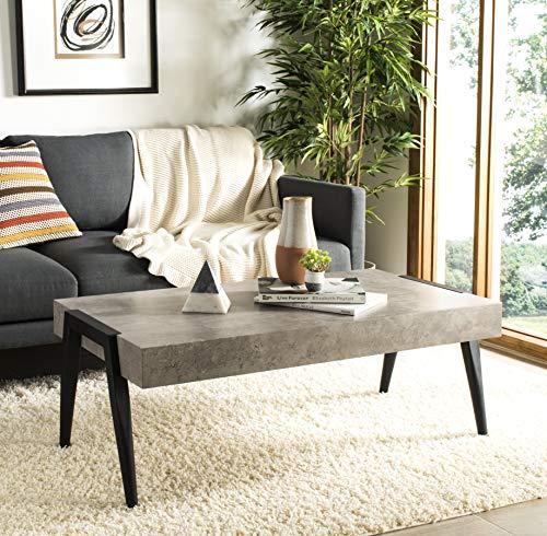 Safavieh COF7008A Home Collection Cameron Light Grey and Black Rectangular Midcentury Modern Coffee Table,