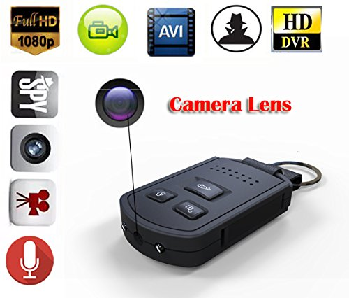 MDTEK@ 16GB +HD 19201080P mini Spy Hidden Car Keychain Camera DV with Night Vision Motion Detection Portable Covert Nanny Car Key Camera (Key Chain Spy Camera)
