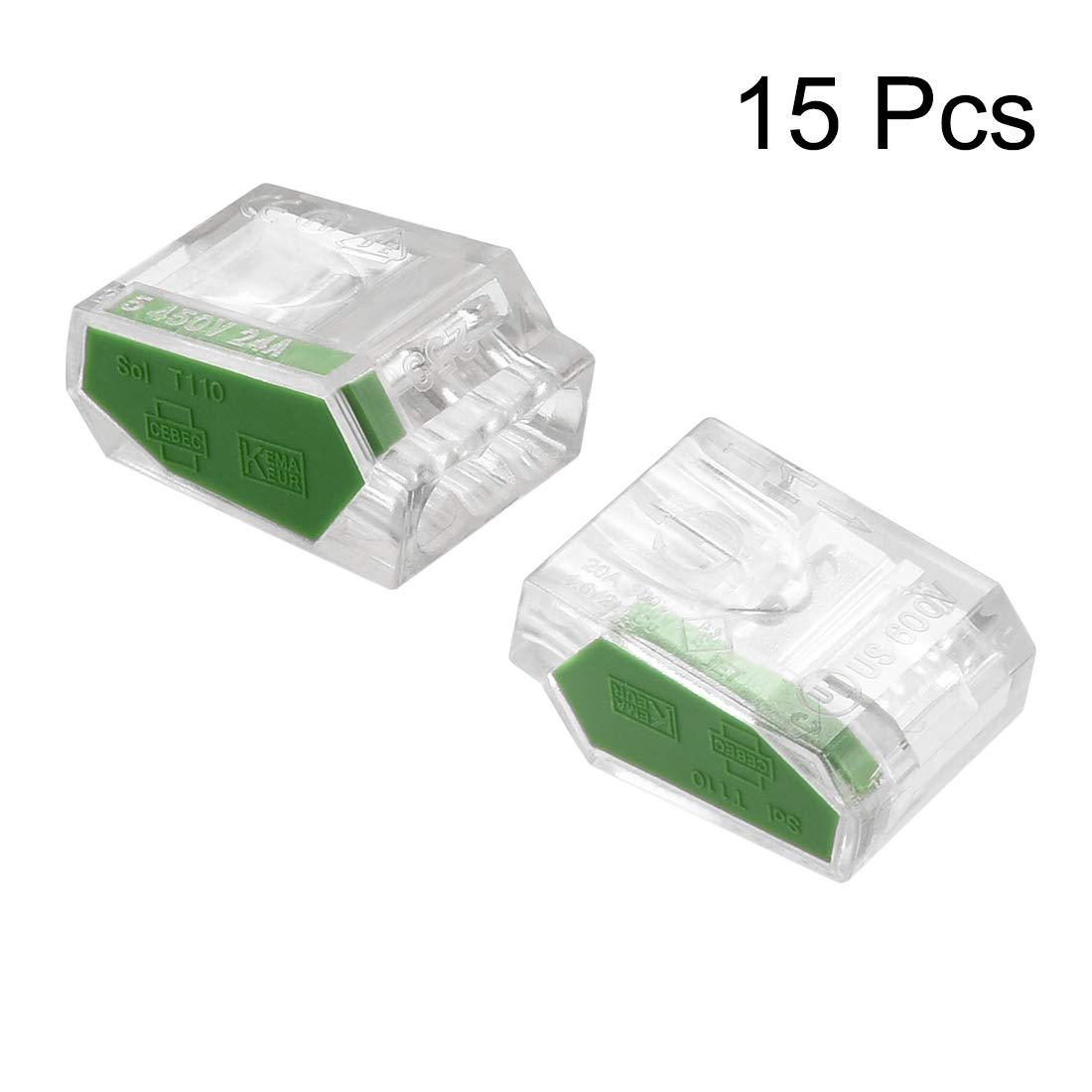 uxcell Push-In Electrical Wire Connectors 18-14 Awg 5-Port 450V Clear Orange 25 Pack