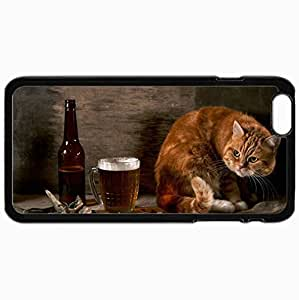 Customized Cellphone Case Back Cover For iPhone 6 Plus, Protective Hardshell Case Personalized Cat Rotation Fish Black