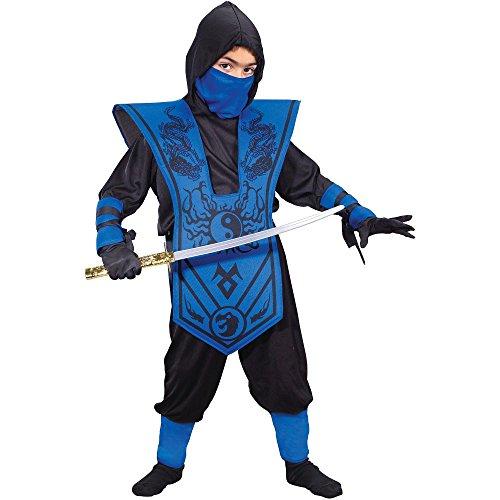 Blue Ninja Costume For Boys (Fun World Complete Ninja Child Halloween Costume, Blue)