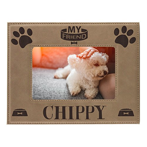 - Personalized Pet Picture Frame - Engraved Dog Cat Photo Gift Frames - Custom Monogrammed for Free (4 x 6)