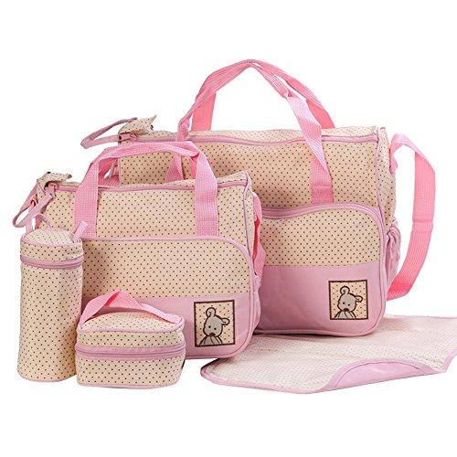 Mummy ensamblados multifuncional Bundle Combination Spaziosa Bolsos de Hombro Niños Bolsa Messenger Bag Bolsa de la compra Base embarazadas café rosa
