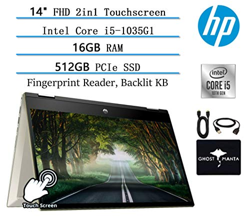 🥇 2020 HP Pavillion x360 2in1 14″ FHD Touchscreen Newest Flagship Laptop
