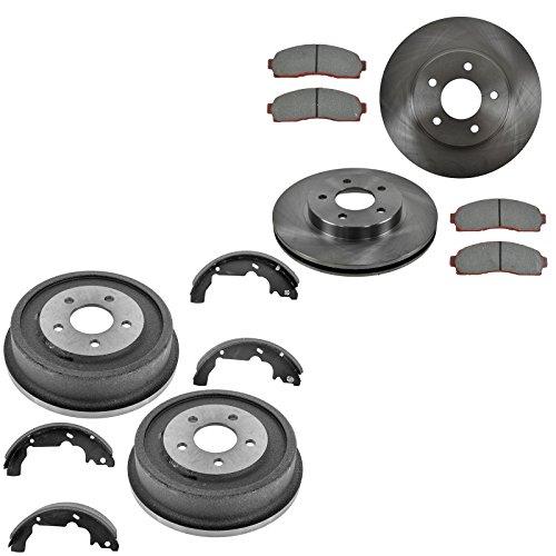 (Front Brake Rotor & Posi Ceramic Brake Pad w/Rear Drum & Shoe Kit Set)