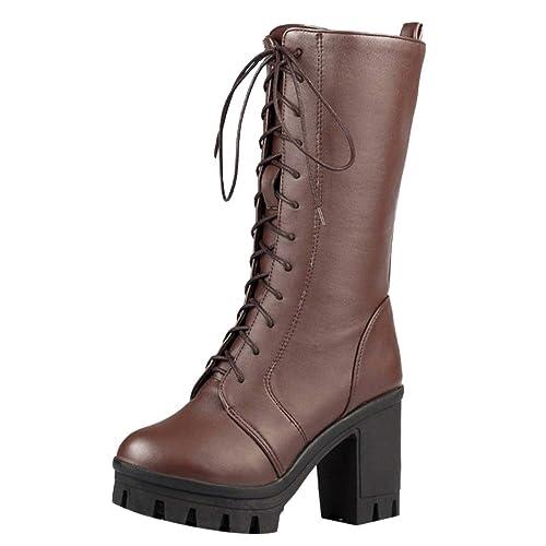 RAZAMAZA Moda Botas Otono Invierno de Tacon Ancho con Cordones para Mujer: Amazon.es: Zapatos y complementos
