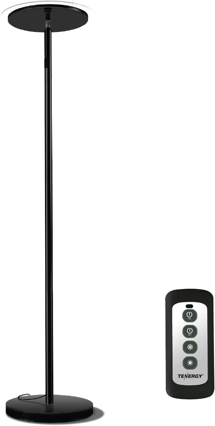 Tenergy Torchiere Dimmable LED Floor Lamp, Remote Controlled 30W 150W Equivalent Standing Lamp with Stepless Touch Dimmer, 90 Adjustable Top, Wall Switch Smart Outlet Compatible, Warm White Light