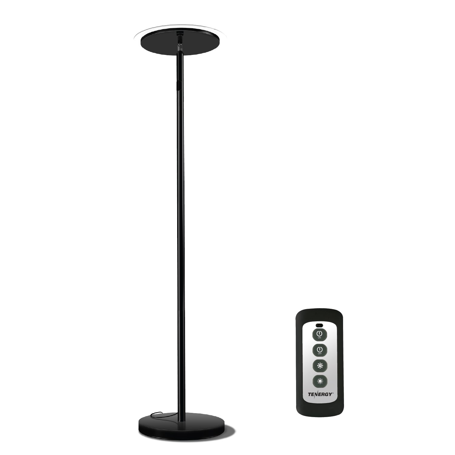 Tenergy Torchiere Dimmable LED Floor Lamp, Remote Controlled 30W (150W Equivalent) Standing Lamp with Stepless Touch Dimmer, 90° Adjustable Top, Wall Switch Smart Outlet Compatible, Warm White Light