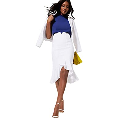 9f36fb091 Image Unavailable. Image not available for. Color: New York & Co. White Fit  And Flare Skirt - All-Season ...