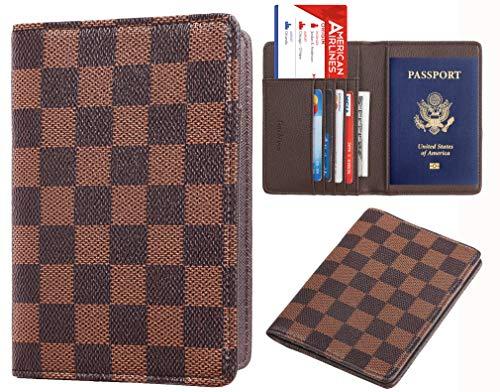Rita Messi Luxury Passport Holder Cover Case Checkerboard PU Vegan Leather RFID Blocking Travel Organizer Card Holder(brown)