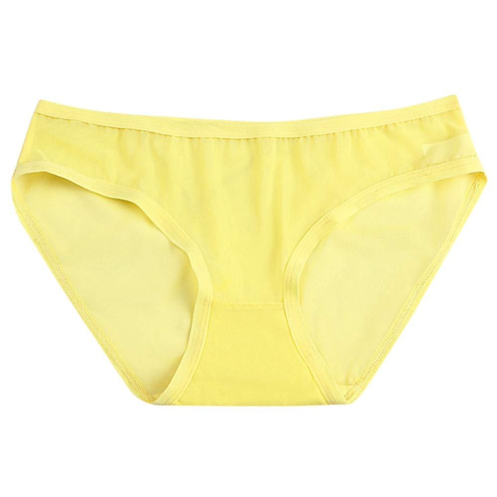 Qiujold Women Sexy Lingerie G-String Mesh Briefs (M, Yellow)