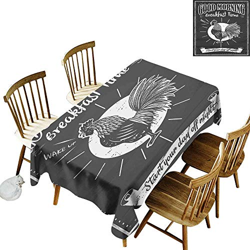 - Retro Easy to Care for Leakproof and Durable Long tablecloths Outdoor Picnic Chalkboard Art Good Morning Rooster in Retro Style Inspirational Phrase Print W60 x L102 Inch Black and White