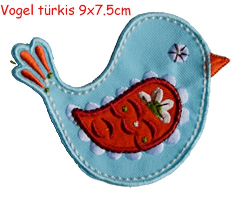 2 iron-on appliques set - Bird Turquoise 9X8Cm and Bird Pink 9X9Cm embroidered application set by TrickyBoo Design Zurich Switzerland