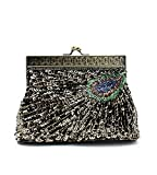 MissFox Women's Retro Beaded Sequins Handbag Shoulder Evening Bags