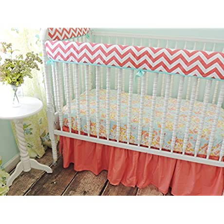 Tushies And Tantrums Bumperless Crib Bedding With Coral Chevron Stripes Aqua Coral