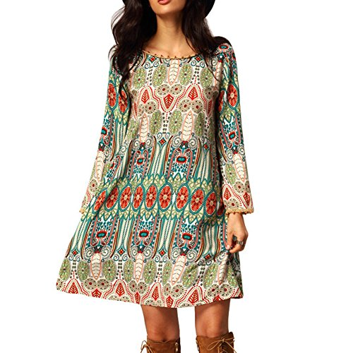 EFINNY Women Bohemian Long Sleeve Slim Tunic Beach Dress