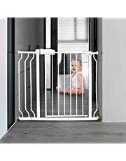 ALLAIBB Walk Through Baby Gate Auto Close Tension 24.02-76.38 inch White Metal Child Pet Safety Gates with Pressure Mount for Stairs,Doorways and Baniste