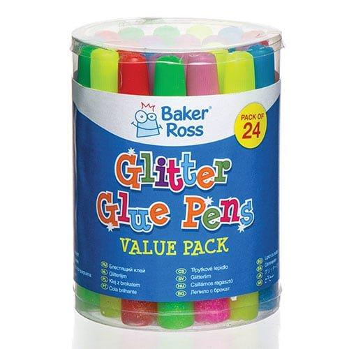 Baker Ross Stylos Colle pailleté e coloré e, Fournitures pour Les Loisirs cré atifs et la Confection de dé corations pour Enfants (Lot de 24)