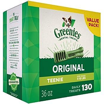 Greenies Dental Dog Treats, Teenie Size,Original Flavor , 36 Ounces, Greenies Dog Dental Chews: For Clean Teeth and Healthy Gums-130 Treats