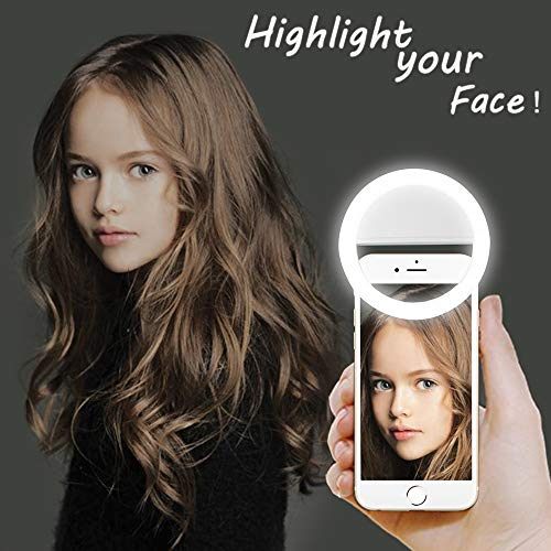 LST Selfie Ring Lighting Rechargeable 38 LED Dimmable Clip Light Portable for iPhone, Samsung, Tablet, iPad (White)