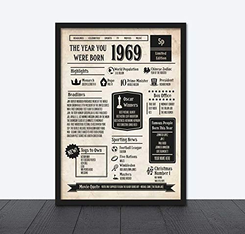 MugKD LLC The Year You were Born Newspaper Style Poster Personalised Gifts for Men Woman on 50th Birthday 1969 [No Framed] Poster Home Art Wall Posters (24x36)
