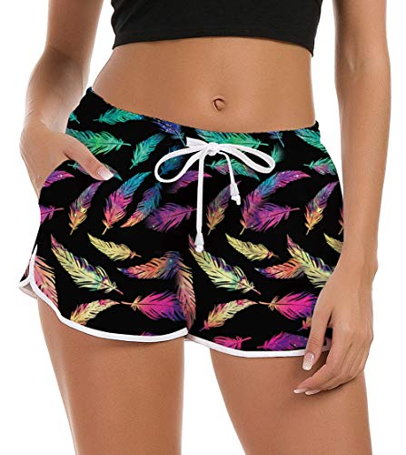 Women Board Shorts Funny Feather Black Swim Trunk Brief Stretch Ladies Teen Girl Hawaiian Travel Outdoor 3D Graphic Surfing Swimsuit Bottom Running Swimwears Pool Bikini Beach Shorts Sleepwear Pant ()