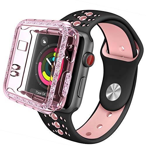 GHIJKL Sports Band Compatible for Apple Watch 38mm 42mm, Soft Silicone Replacement iWatch Wristband Apple Watch Sport, Series 1, 2, 3, 4 Black/Pink with Case-38mm