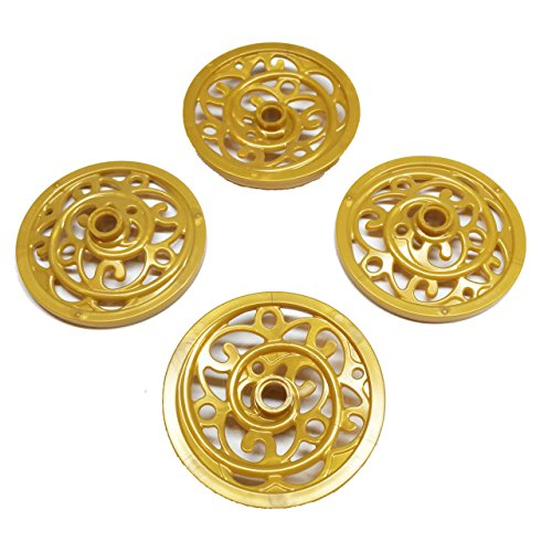 Lego Parts  Cinderella S Carriage   43Mm Ornate Wagon Wheels  Service Pack Of 4   Pearl Gold