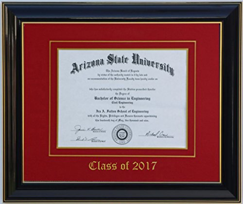 Diploma Frame 8x6 Black/Red 2017 (Customizable)