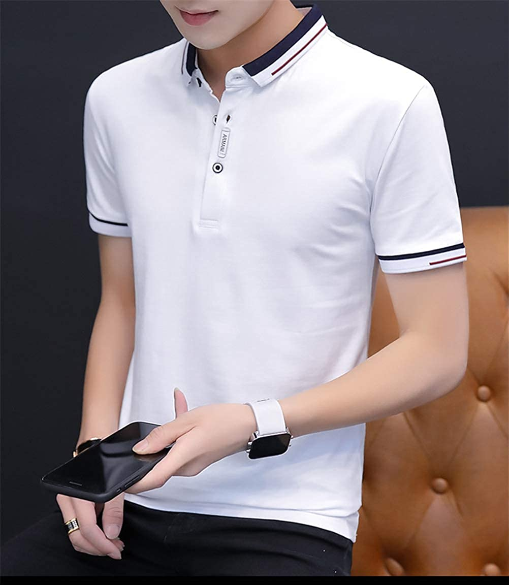 Mens Casual Short Sleeve Slim-Fit Trend Polo Shirt