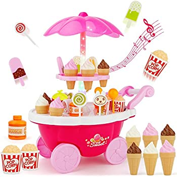 SONiKi Ice Cream Candy Cart 39 PCS Pretend Play Food Dessert and Cash Trolley Set Toys with Music and Lighting Kids and Girls Toyselody for Girls and Kids