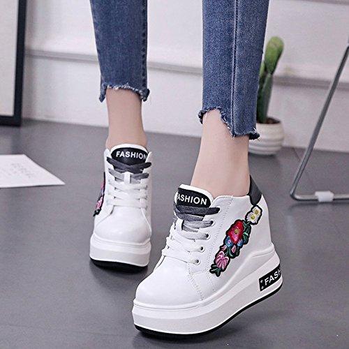 Btrada Womens Lace-up Casual Sneaker Borduurwerk Hoge Toename Verborgen Loopschoenen Wit